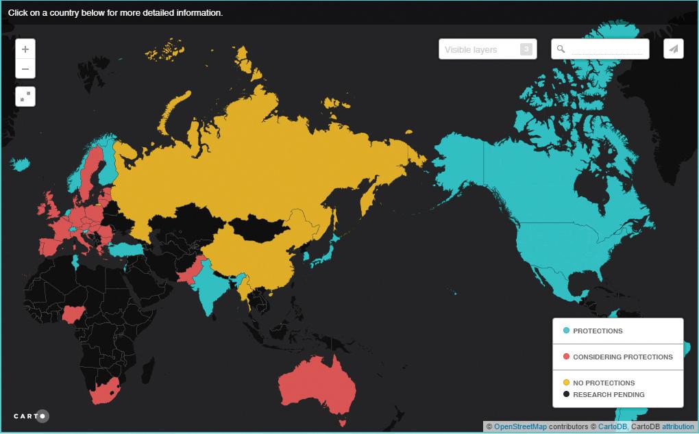세계 망중립성 규제 현황을 보여주는 지도이미지